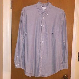 Nautica Pinstriped Casual Button Down Shirt